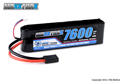 MAXXTRAX LIPO 7600MAH 7.4V 2-CELL 30C LIPO - MXX-307
